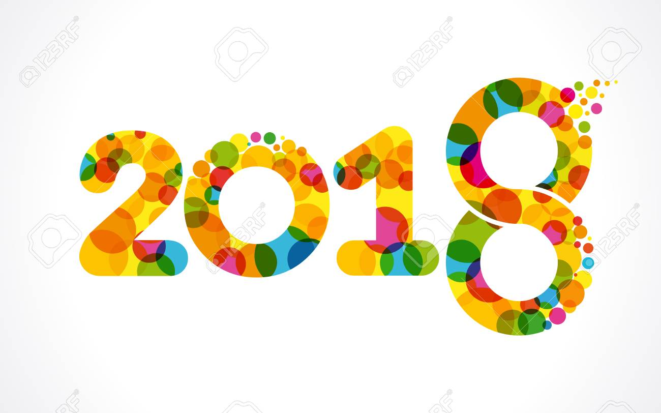colored number 2018 happy new year design template greeting card design template with colorfulcalligraphy for