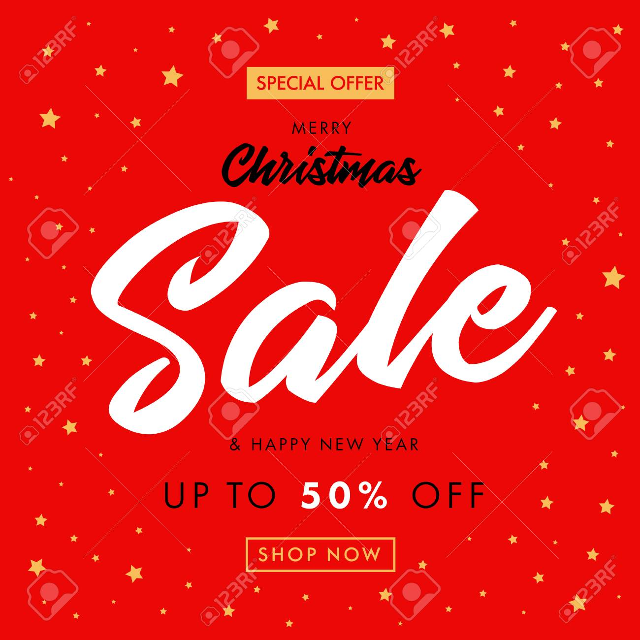 calligraphy christmas sale happy new year red banner merry christmas sale with a special
