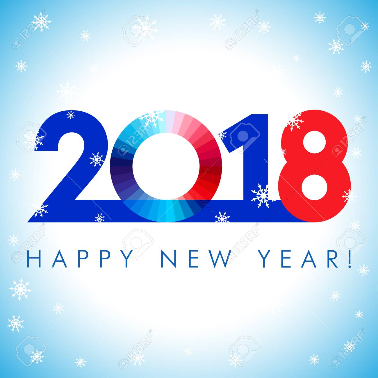 2018 A Happy New Year greetings. Blue, red and white numbers, isolated symbol. Congratulating celebrating colored minimal winter image with set of snowflakes, square background. - 90467232