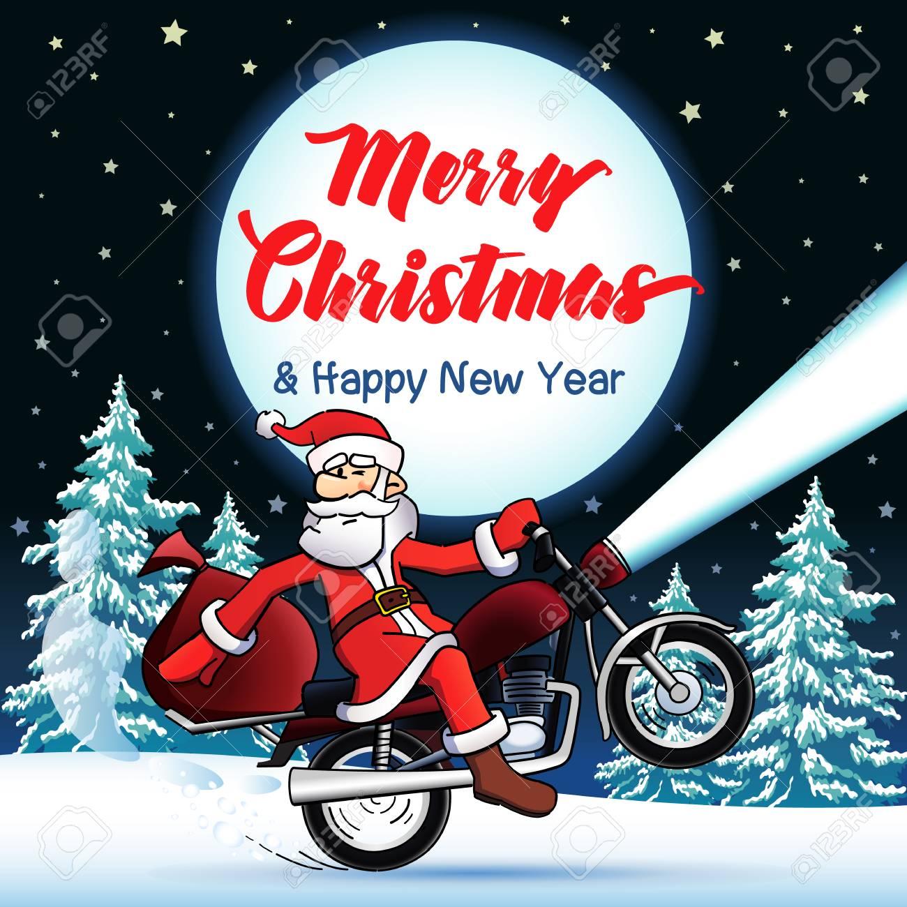 Santa Biker Merry Christmas And Happy New Year Greeting Card ...