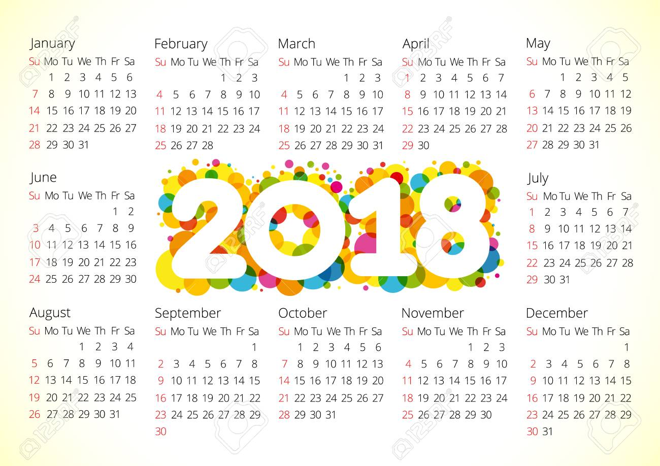 2018 office calendar for whole year celebrating congratulating minimal annual numbers isolated schedule
