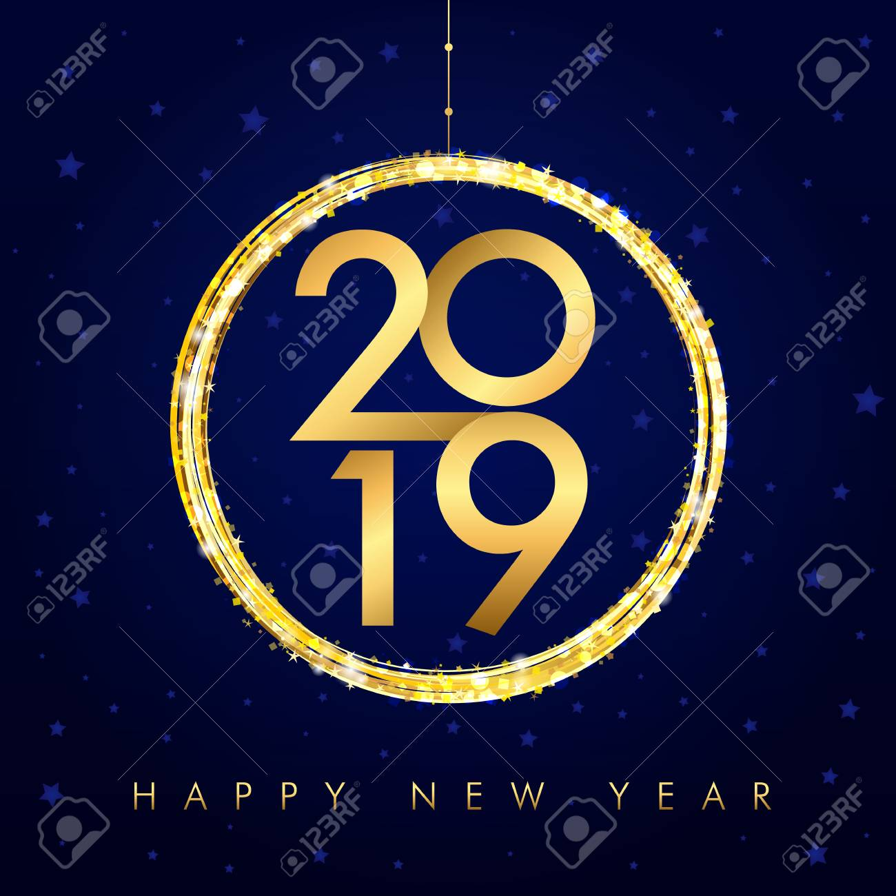 happy new year background with golden ball and glitter gold number 2019 and text happy