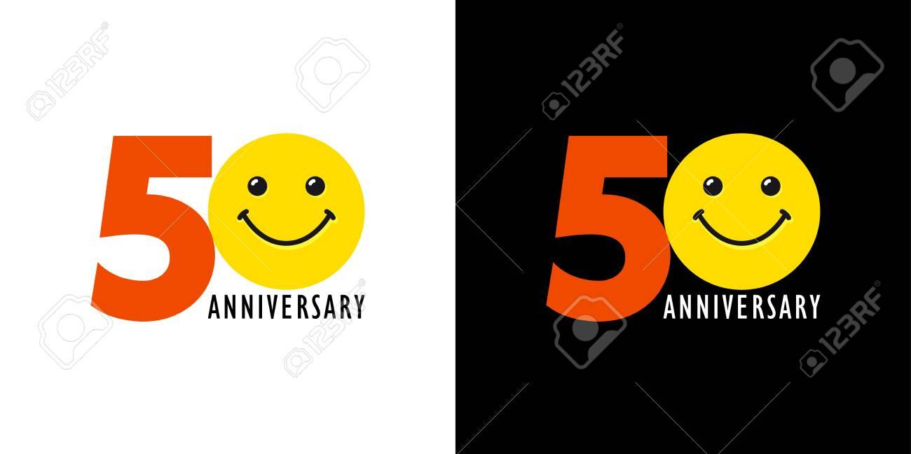 Emoticone Anniversaire 50 Ans.Logo Souriant De 50 Ans Felicitant De Celebrer Les 50e 5e Numeros Logotype Avec Emotions