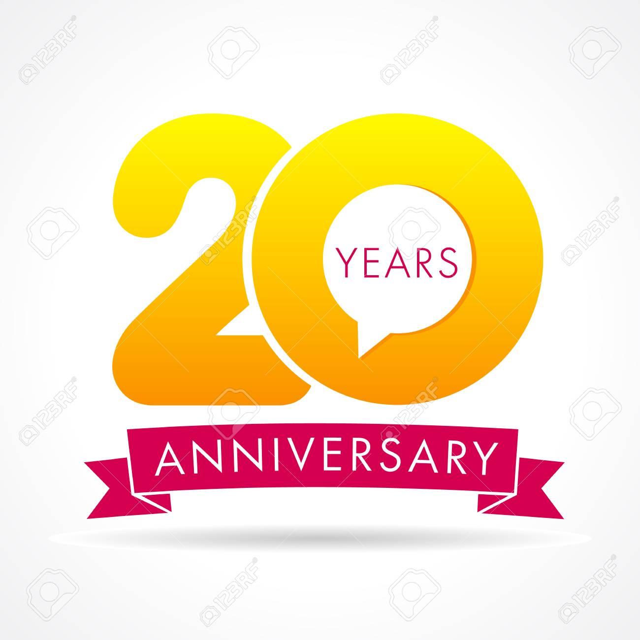 Logo De Communication Anniversaire 20 Ans étiquette De Logo Danniversaire De 20 Ans Signe De Numéro De Vecteur Jaune Et Ruban Rose Isolé