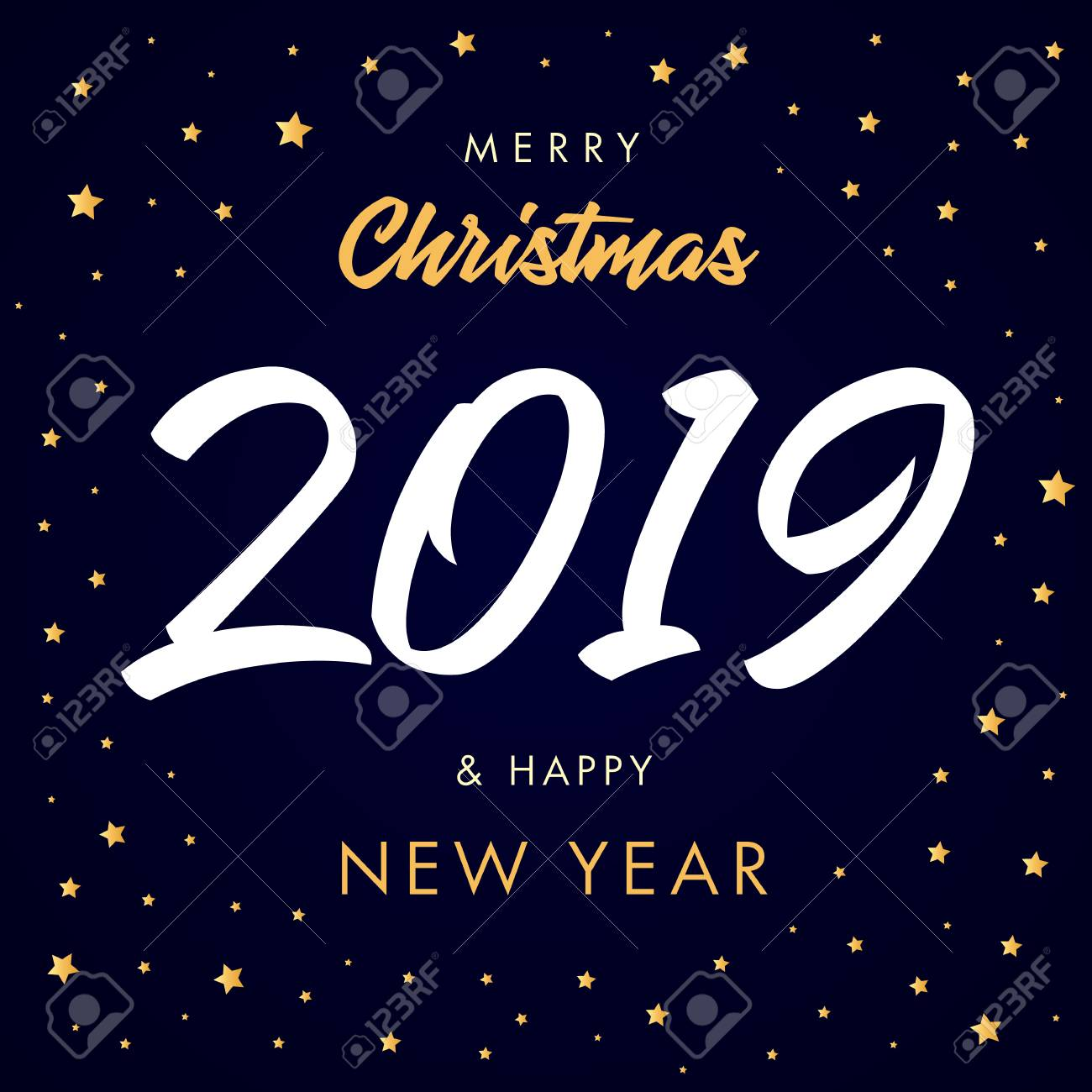 merry christmas calligraphy 2019 and happy new year greeting card vector happy new year illustration