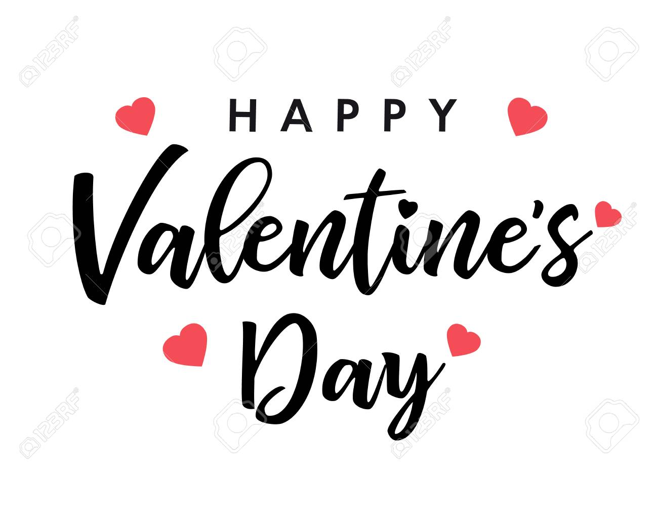 Lettering Happy Valentines Day Banner Black Valentines Day Greeting