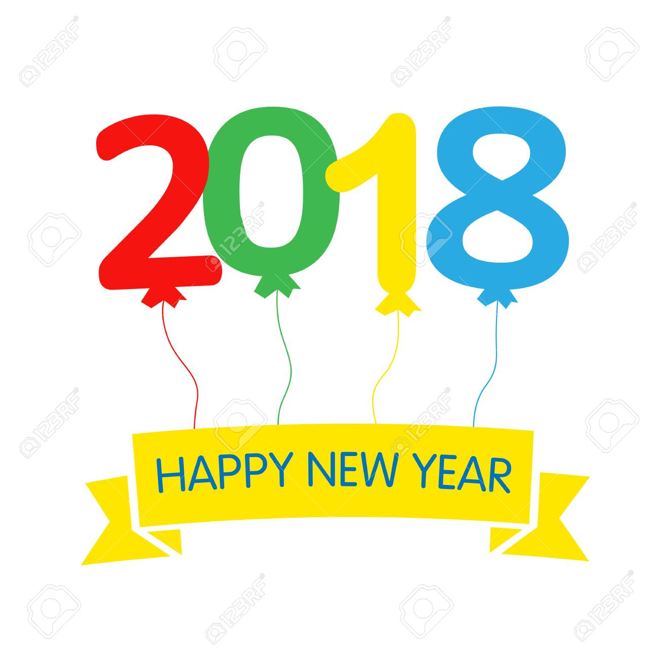 2018 Colored Balloons Happy New Year Greeting Card. Happy New ...