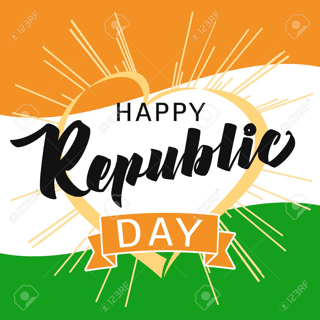 Happy republic day idia heart and beams greeting card in national happy republic day idia heart and beams greeting card in national flag colors vector poster m4hsunfo