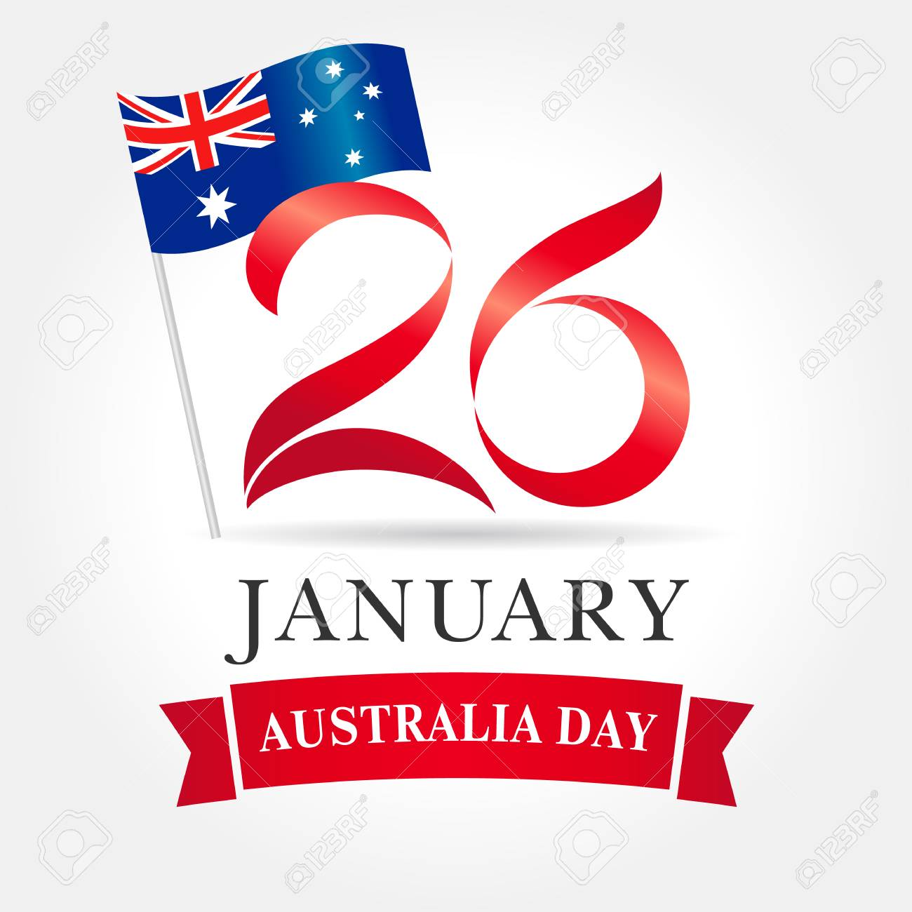 26 January Happy Australia Day Greeting Card Vector Illustration