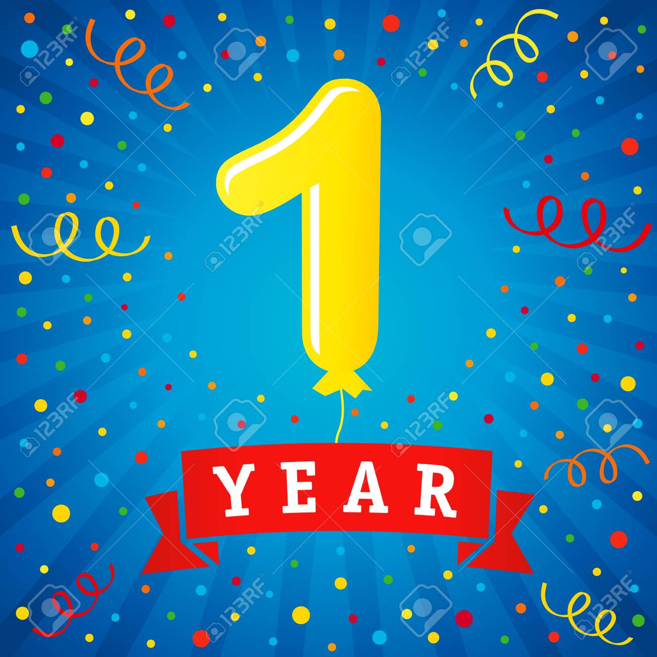 1 Year Anniversary Celebration With Colored Balloon Confetti Royalty Free Cliparts Vectors And Stock Illustration Image 93464265