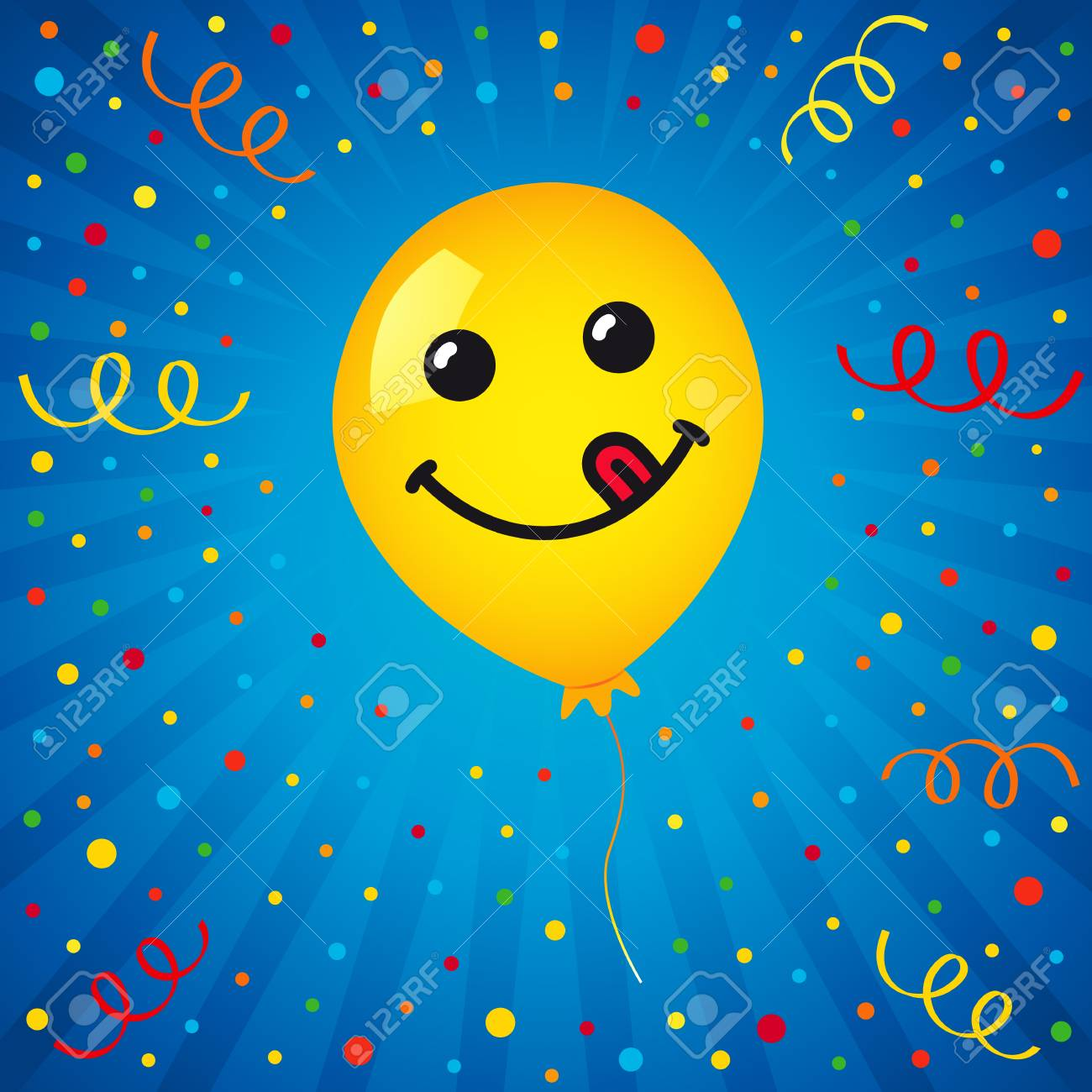 Smiling Of Yellow Balloon And Colored Confetti On Blue Background Vector Emoticon Emoji Flat Smile