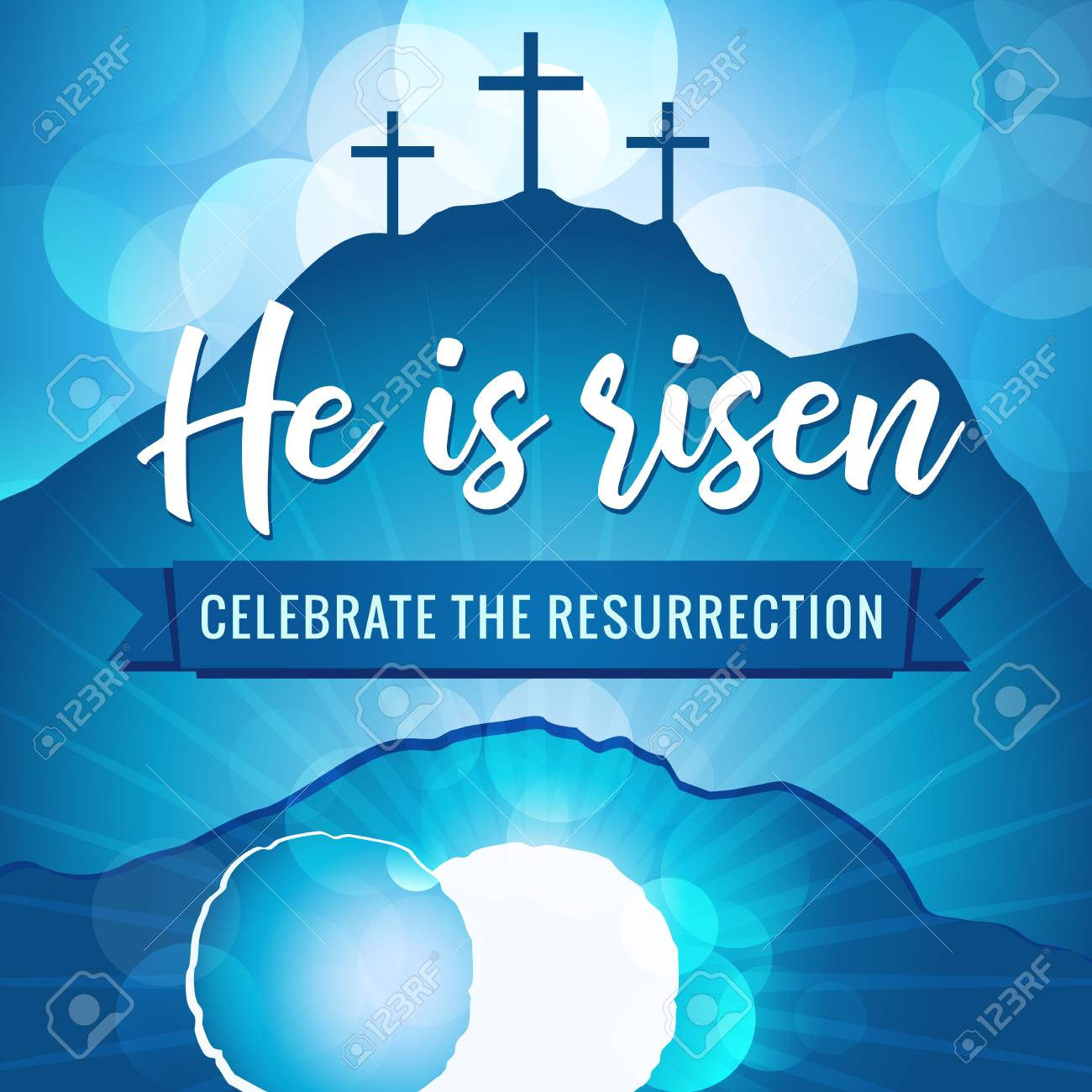 He is risen holy week. Easter christian motive, vector invitation to an Easter Sunday service with text stone of Calvary. - 95331754