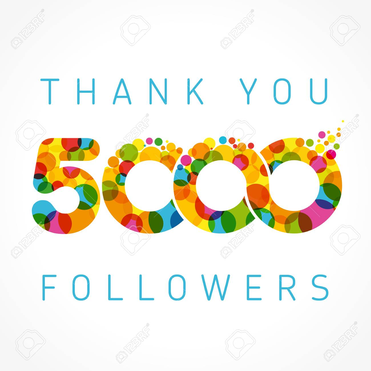 Thank You 5000 Followers Numbers Congratulating Multicolored