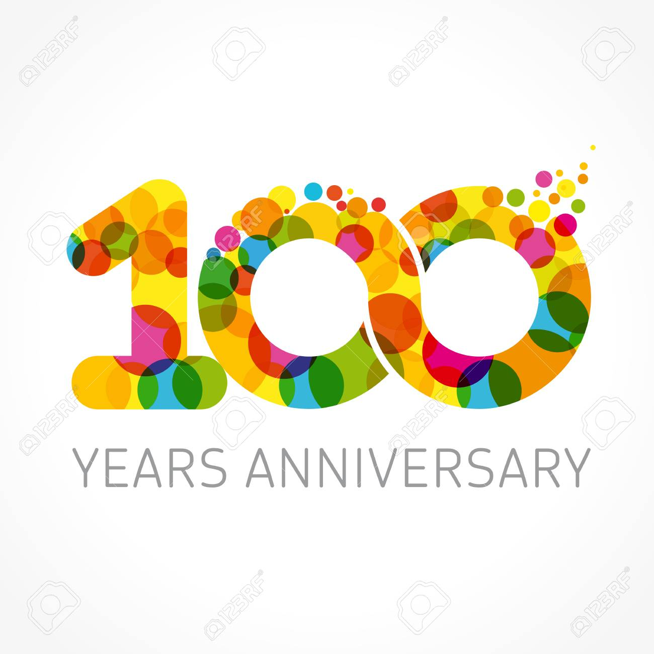 A 100 Years Old Multicolored Logotype For Anniversary Greetings