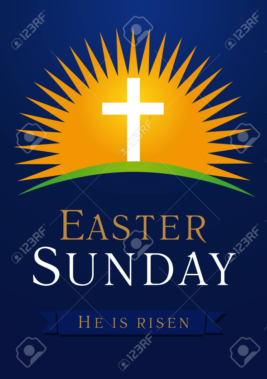 Easter Sunday, He is risen. Greetings, invite vector blue color template. Sunrise, open lighting empty cave, rock off, shining angel inside. Religious symbol and text. Jesus up from the death. - 95858922