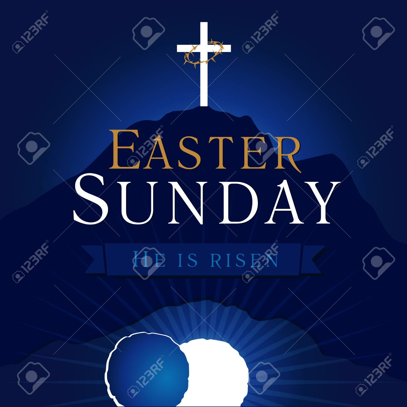 Easter Sunday, He is risen. Greetings, invite vector blue color template. Sunrise, open lighting empty cave, rock off, shining angel inside. Crown of thorns. Religious symbol. Jesus up from the death. - 95858924