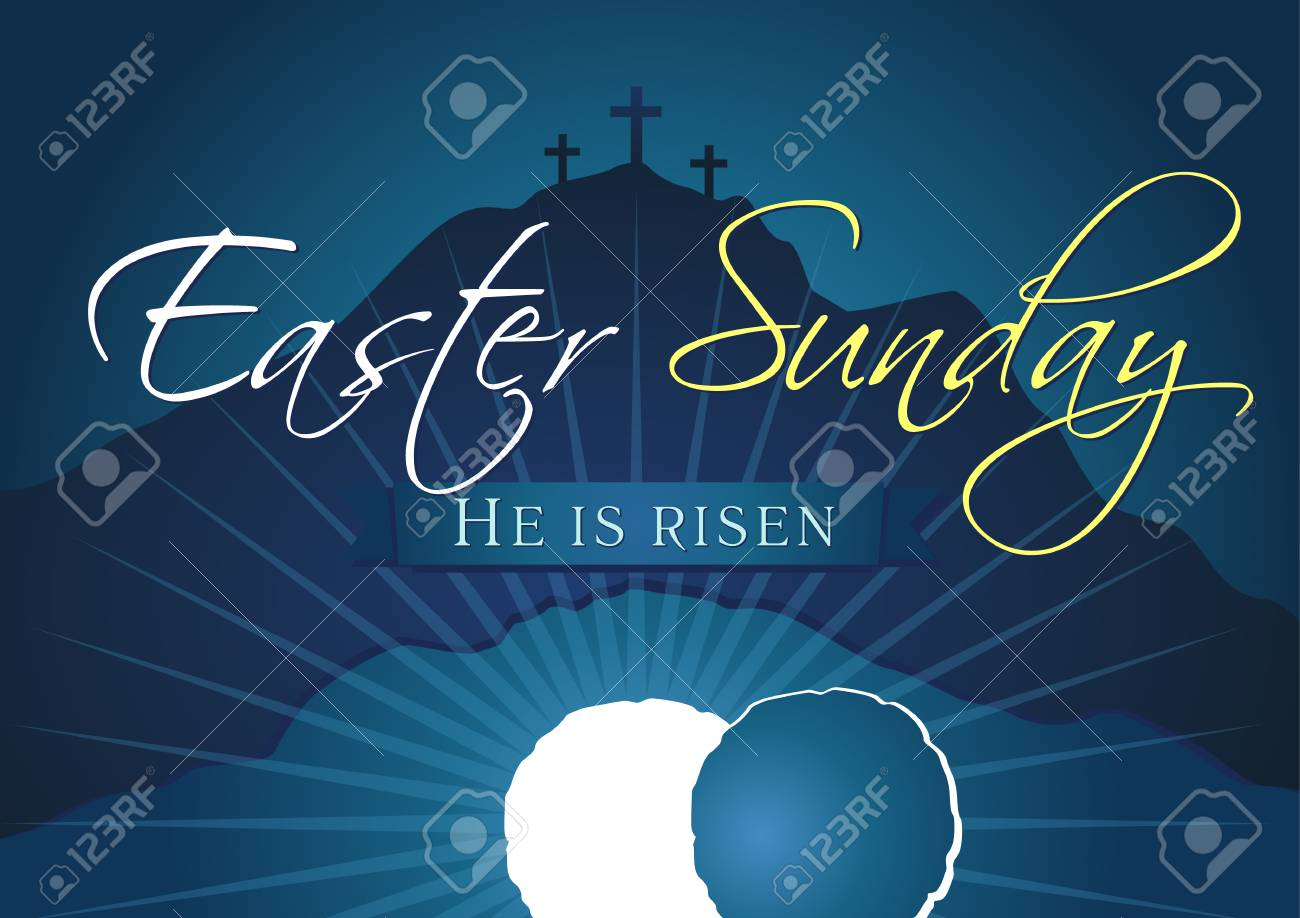 Easter Sunday, He is risen. Greetings, invitation card vector blue color template. - 95882625