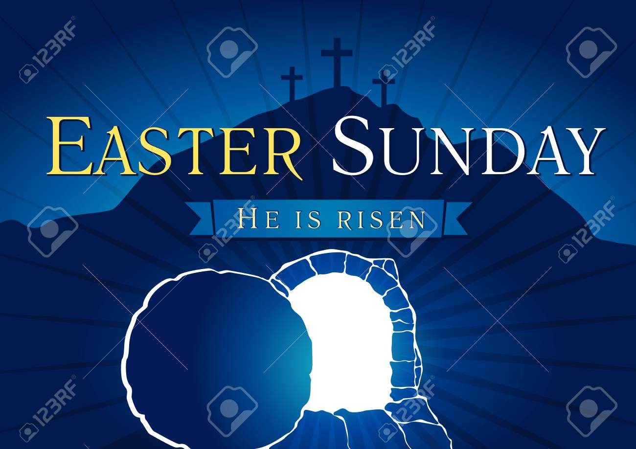 Easter Sunday, He is risen. Greetings, invite vector blue color template. Sunrise, open lighting empty cave, rock off, shining angel inside. Religious symbol. Jesus up from the death celebrating flyer. - 95851416