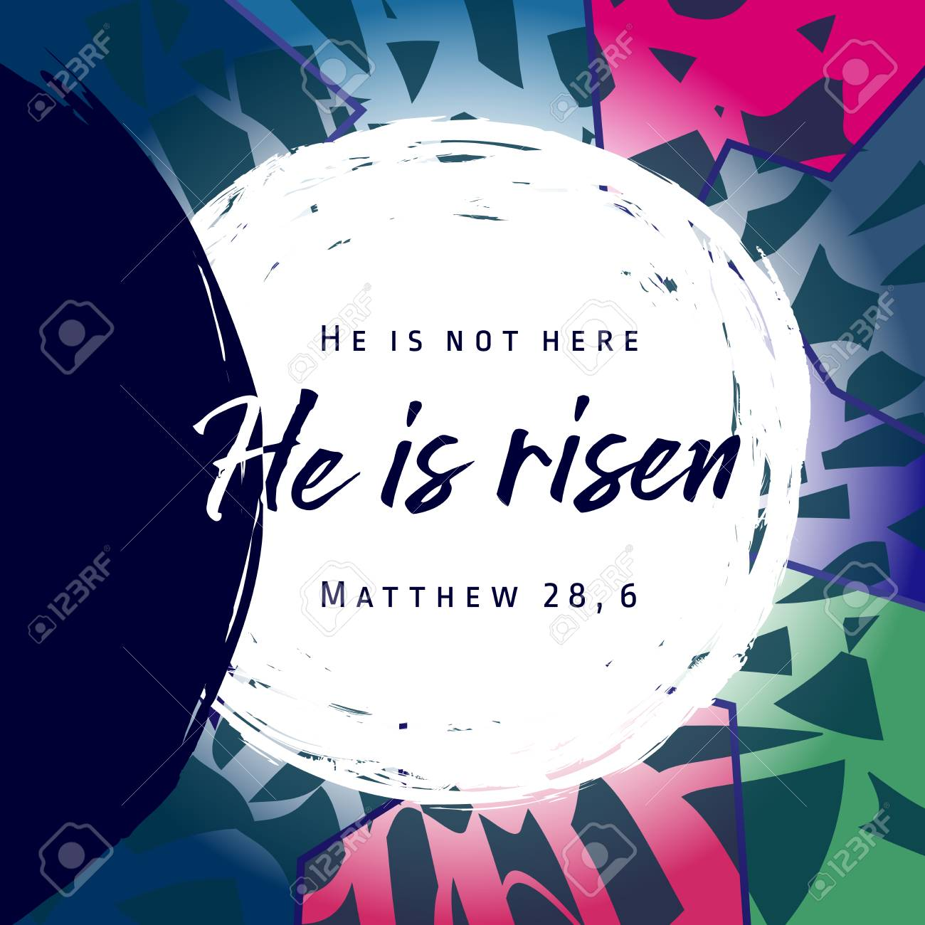 He is risen, He is not here. Invitation vector blue color template. Open lighting empty cave shining angel inside. Religious greetings. Jesus up from dead. Light in the end of the tunnel. Isolated element - 96620359