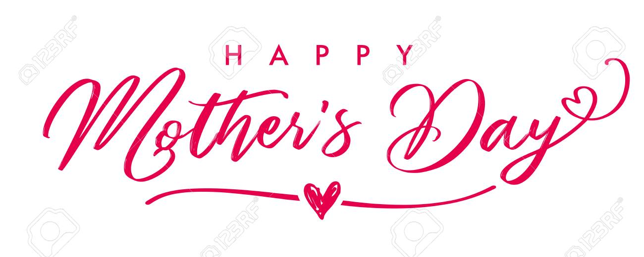 Happy Mothers Day Elegant Calligraphy Banner Lettering Vector Text And Heart In Frame