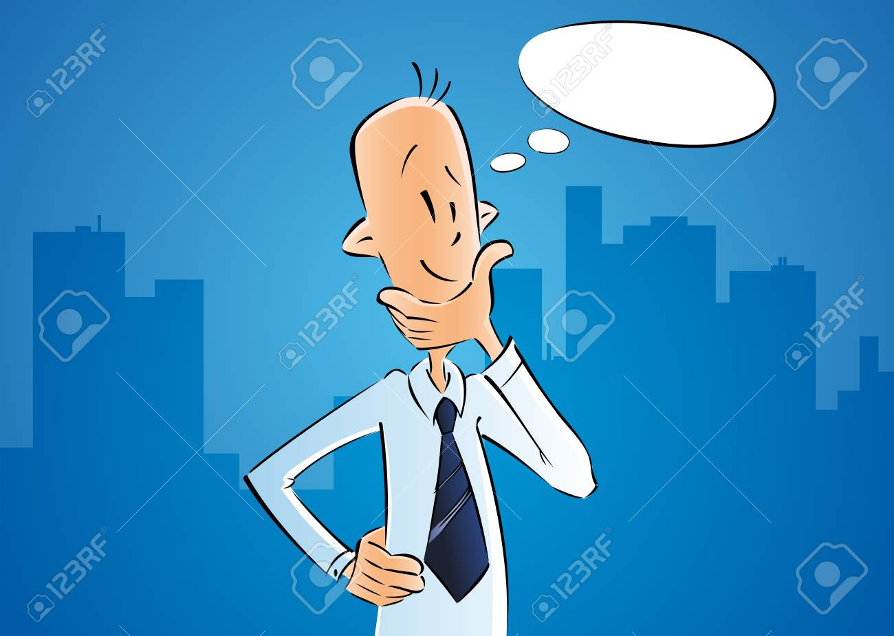 Business man thinking with idea in bubble. Businessman cartoon character on blue city background. Vector design - 99275742