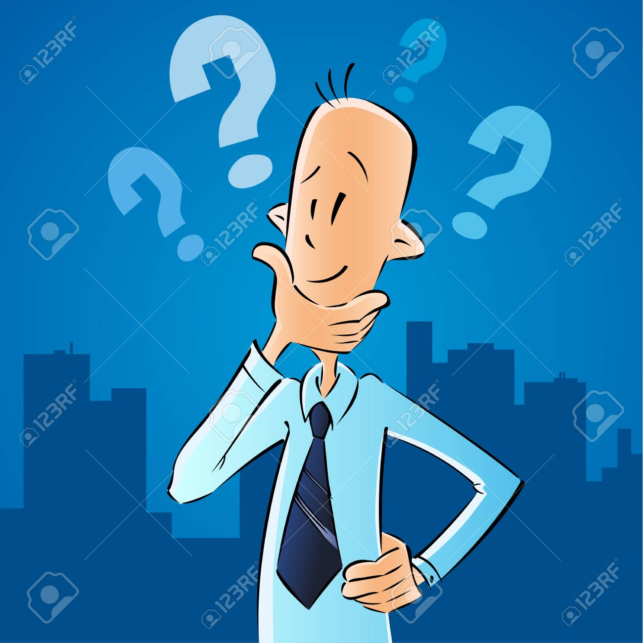 Business man and question marks, to find ways to solve the problem. The vector concept of business difficulties businessman on navy blue city background. - 99199726