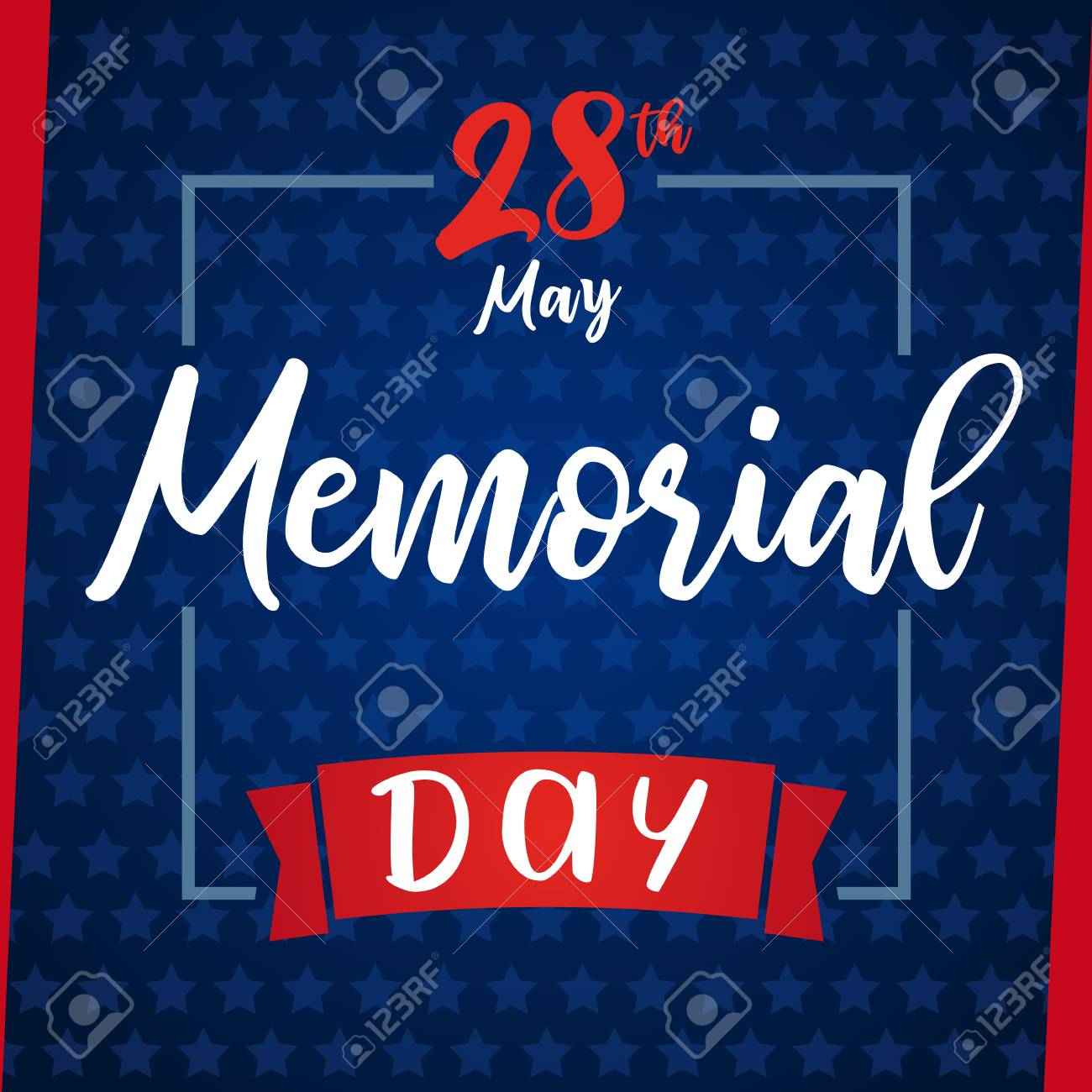 Memorial Day Remember Honor Blue Stars Greeting Card Happy
