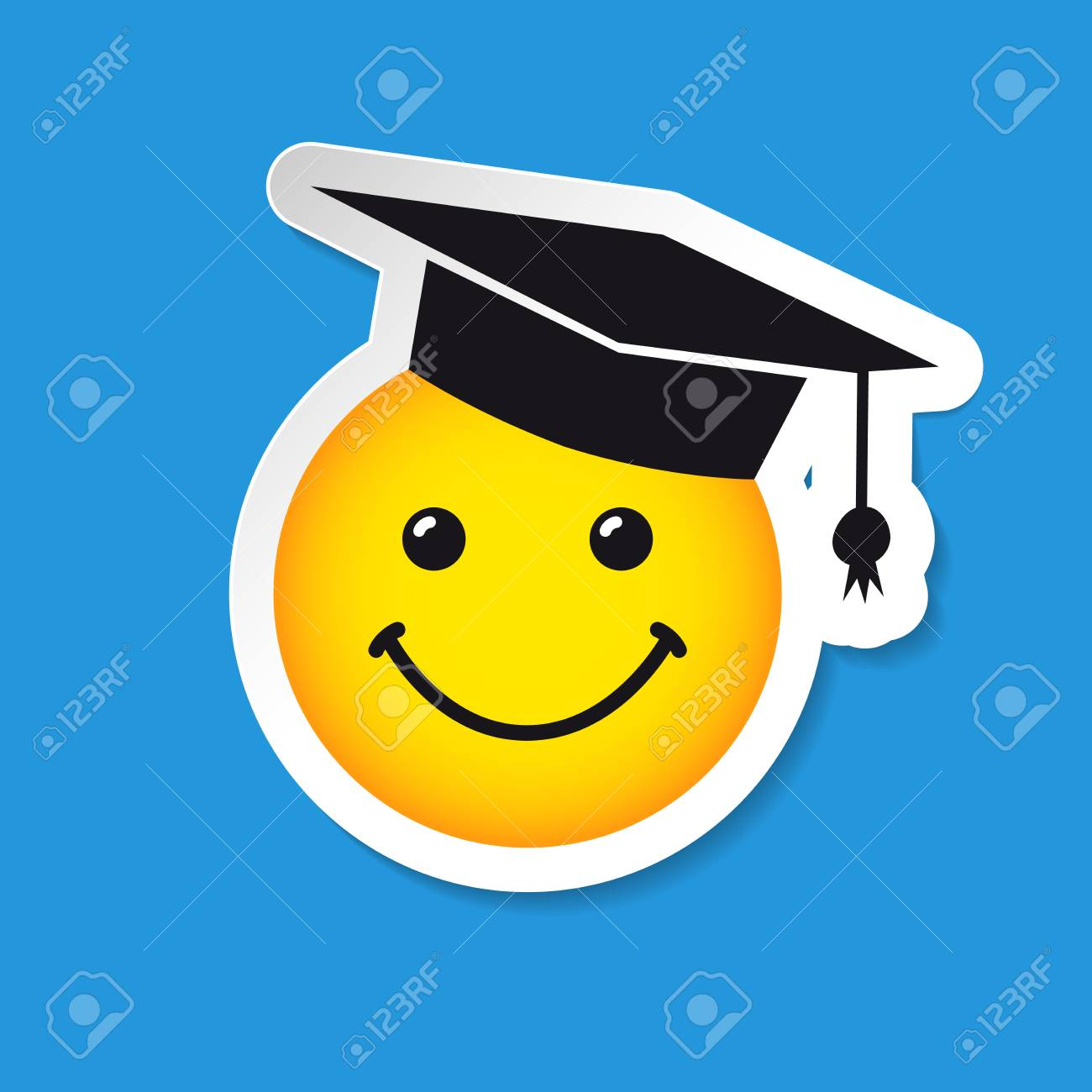 Graduating smiling sign with square academic cap congratulating graduating smiling sign with square academic cap congratulating greetings white logotype template idea for m4hsunfo