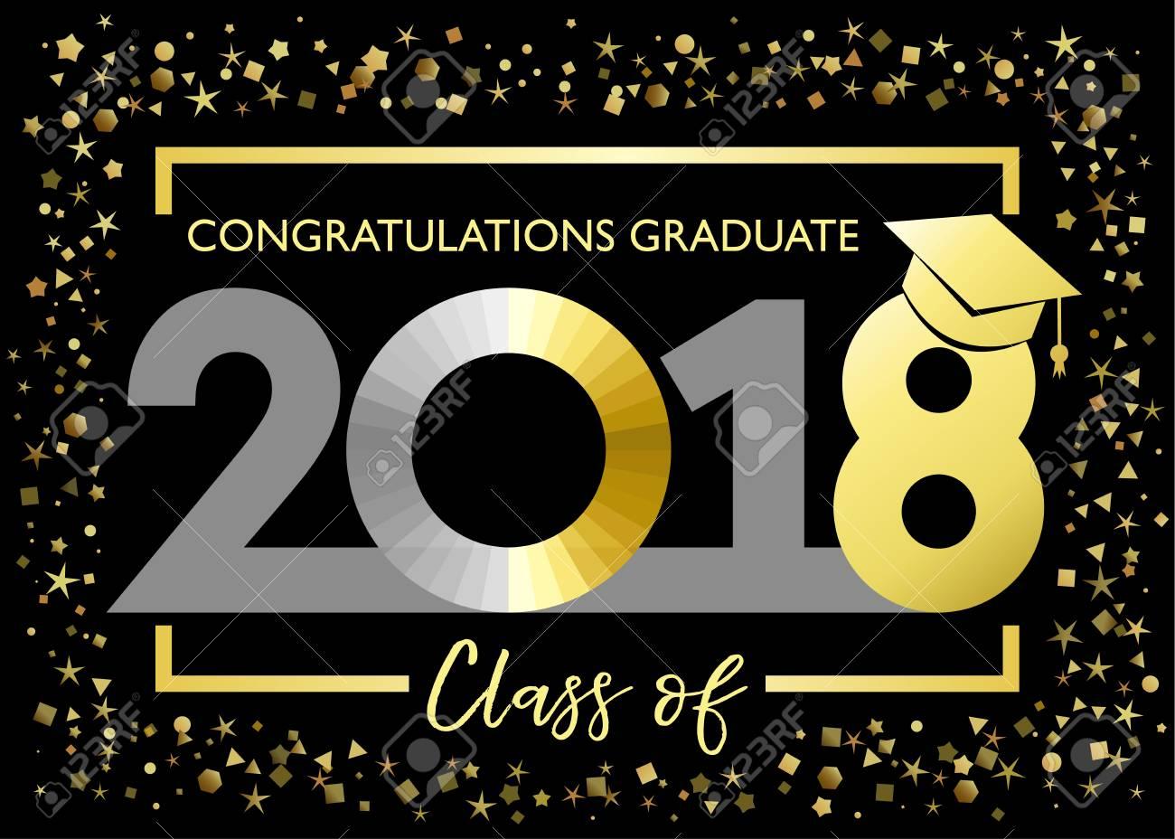 class of 2018 congratulations graduating golden glitter card