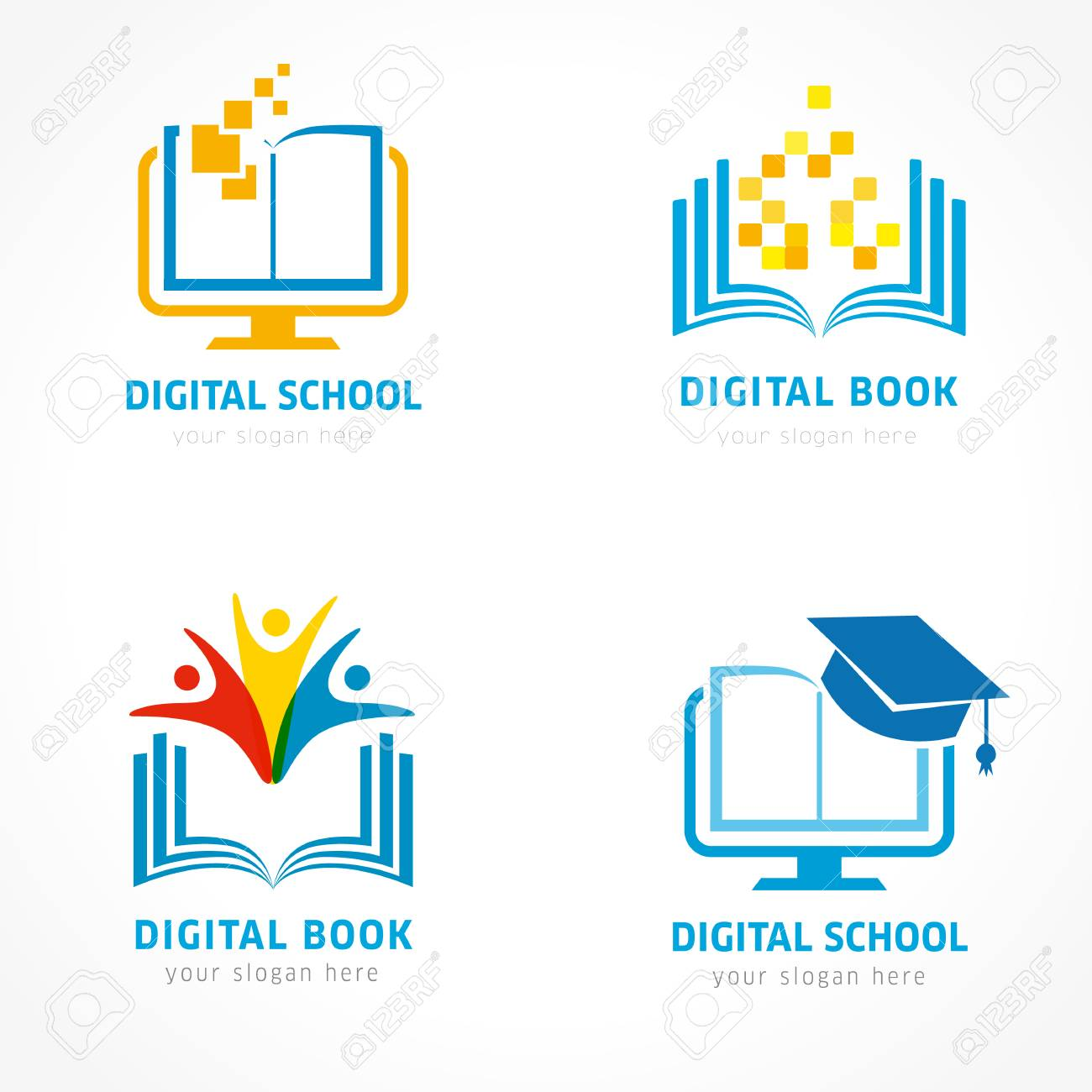 Set Of Online Education Logo Template Online Learning Pixel Royalty Free Cliparts Vectors And Stock Illustration Image 106933295