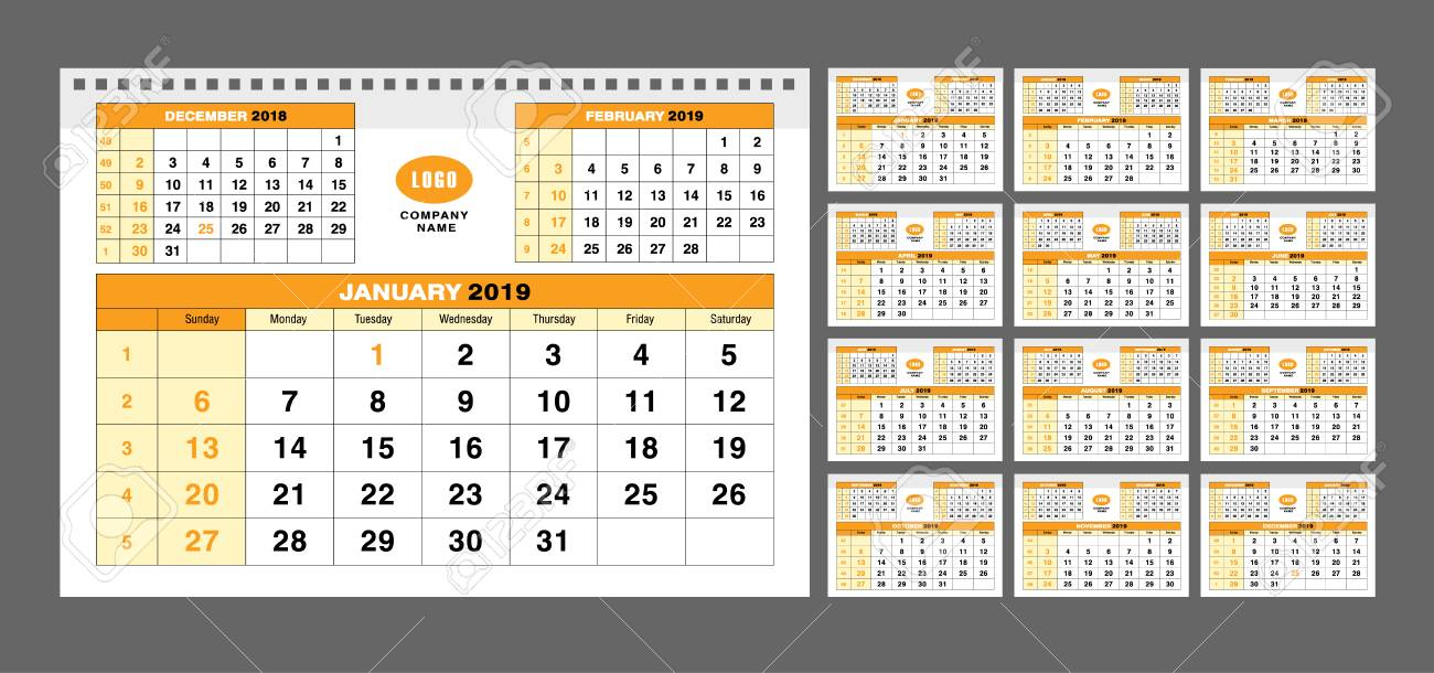 photo relating to Calendar Template for Pages titled Calendar template for 2019 decades. Fixed of 12 calendar web pages for..