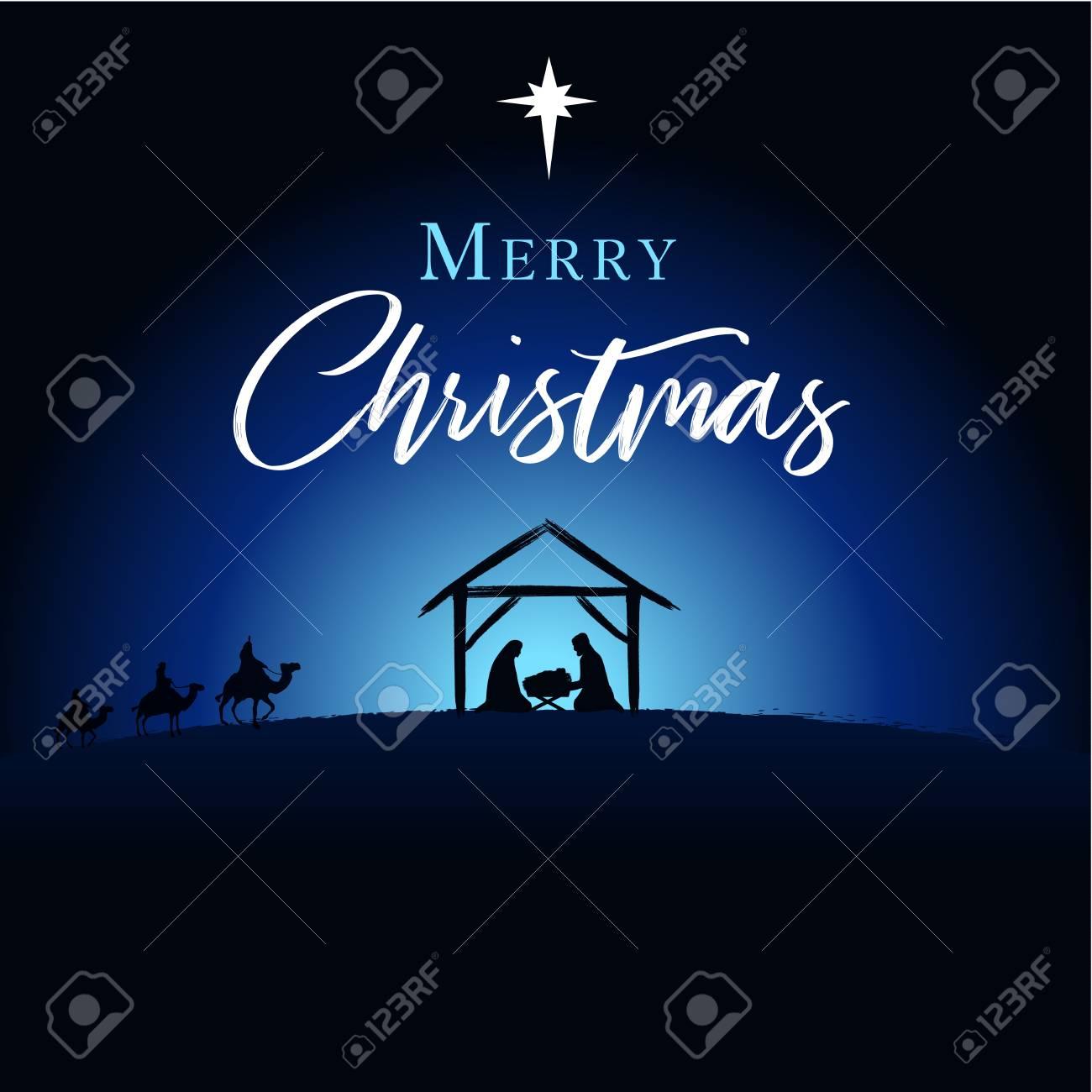 Merry Christmas Christian.Merry Christmas Birth Of Christ Greeting Card Jesus And Jesus