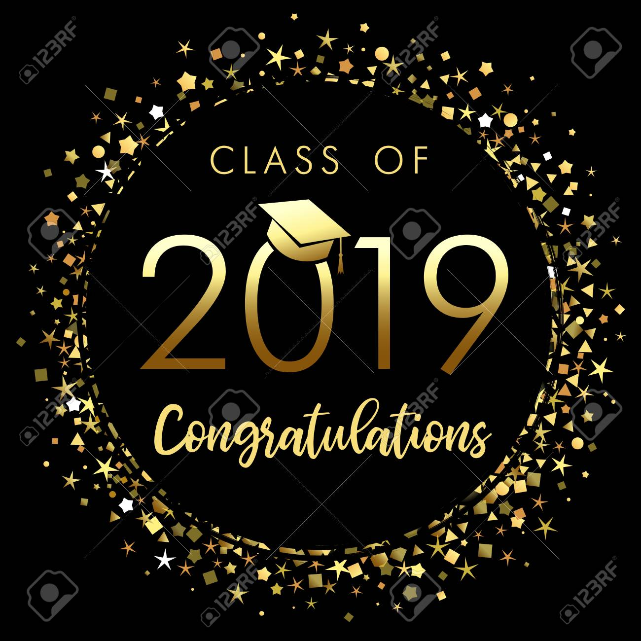 Class of 2019 graduation poster with gold glitter confetti. Class of 20 19 congratulations for your design cards, invitations or banner - 114747640