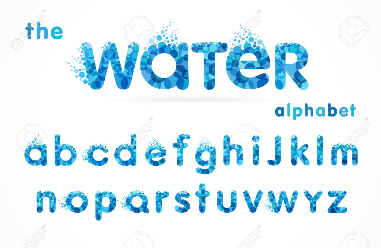 Water drops font, funny blue alphabet, letters and waves. Mineral natural water vector abc icon design - 124353934