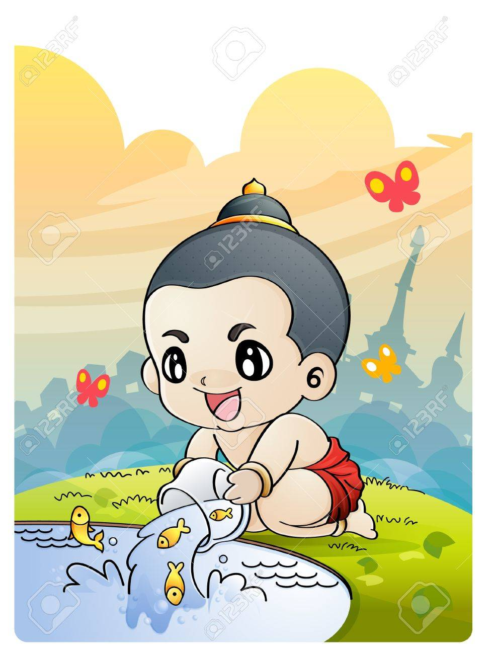 The boy releasing fish from small cage, Thai culture, Releasing birds at Songkran Stock Vector - 9398856