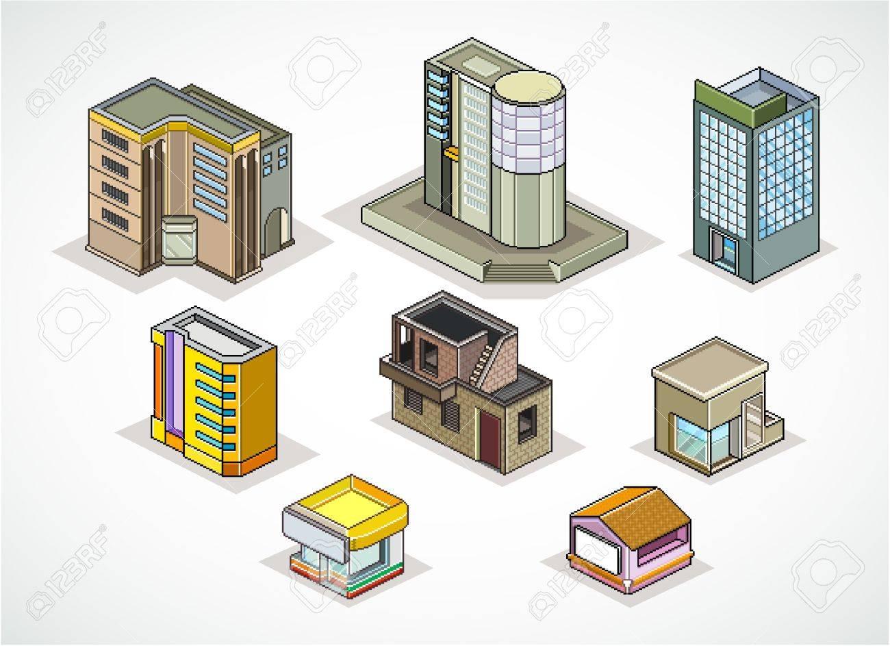 Pixels Art illustration of  isometric buildings Stock Vector - 9398854