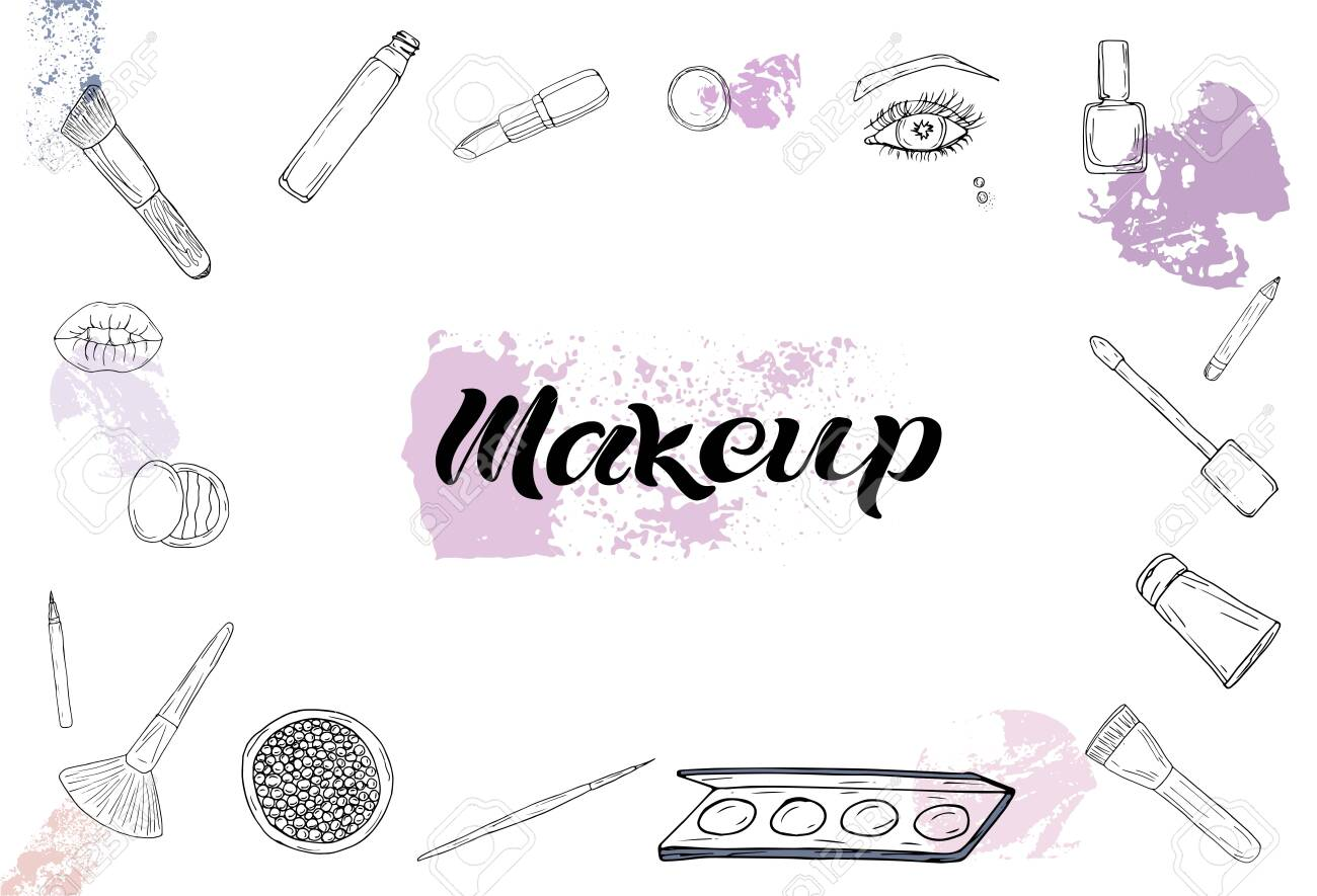 Cosmetics Products Fashion Makeup Banner Vector Illustrations Royalty Free Cliparts Vectors And Stock Illustration Image 123338906