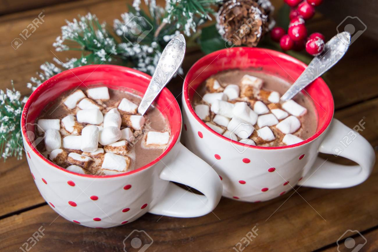 Christmas Chocolate.Christmas Hot Chocolate With Marshmellow On Old Wooden Background