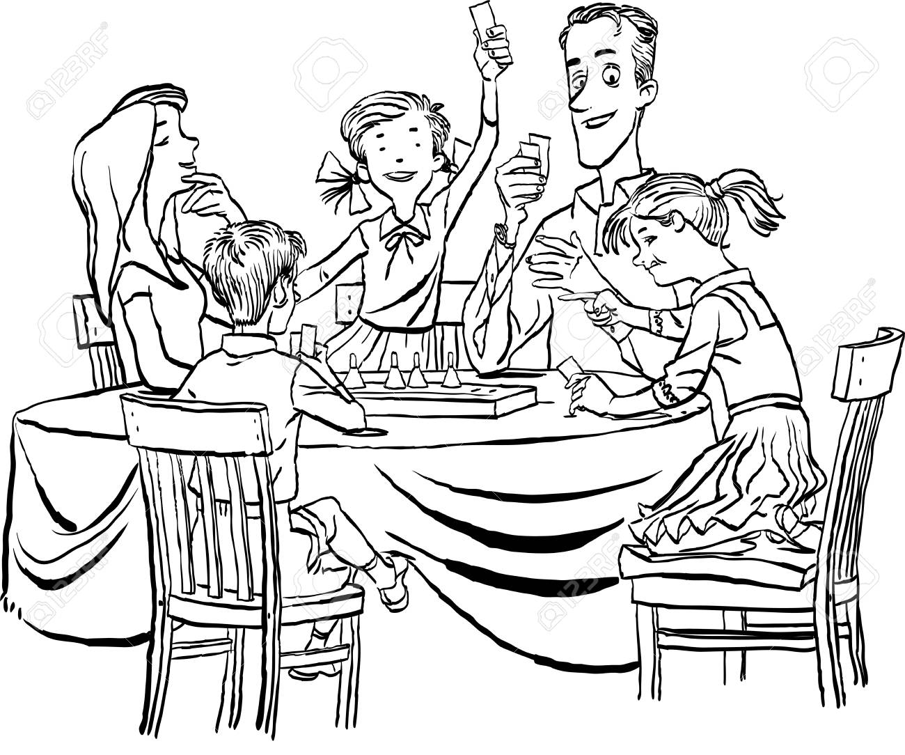 Parents With Their Little Children Playing Together Board Game Royalty Free Cliparts Vectors And Stock Illustration Image 109756450