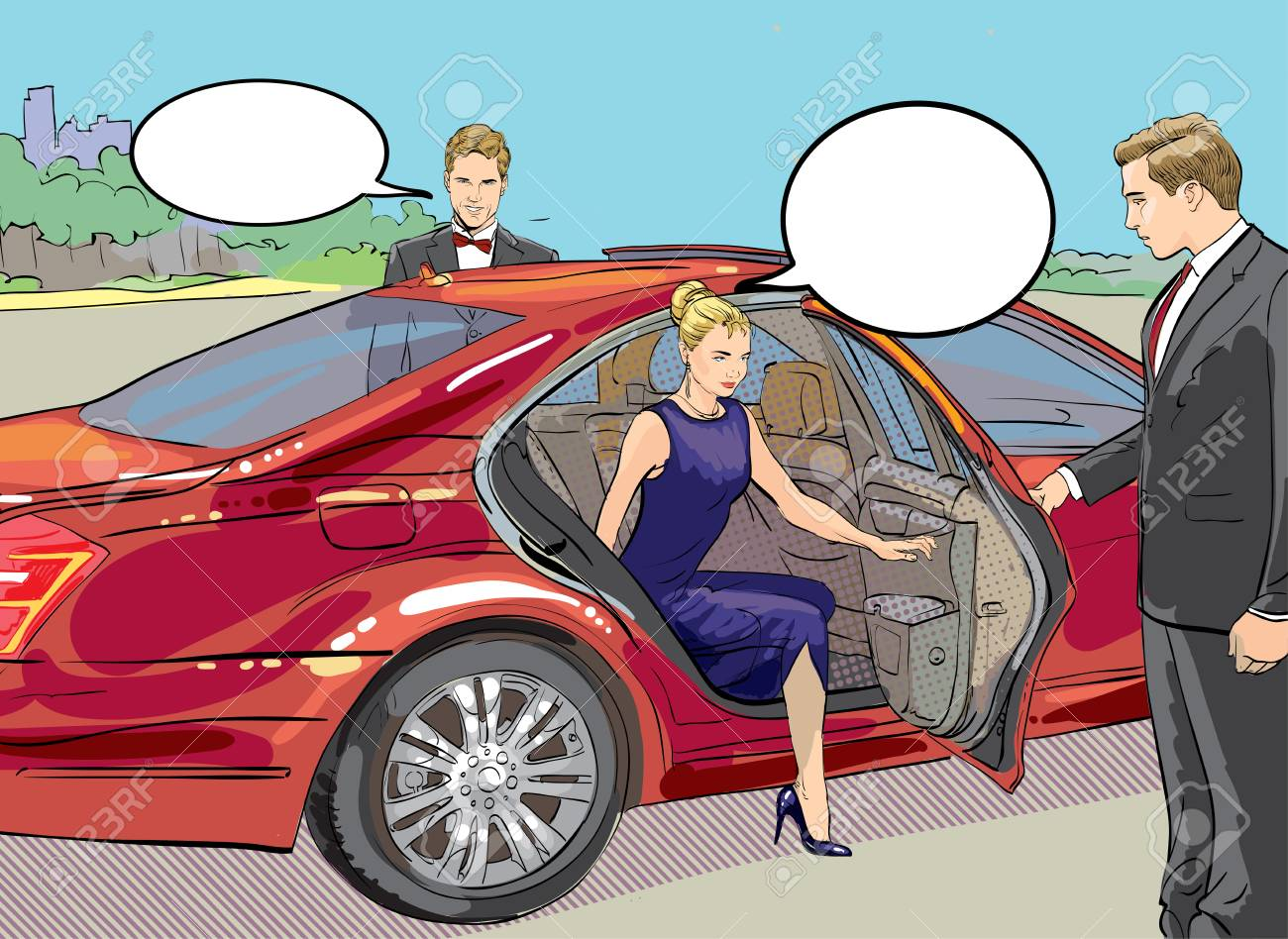 Vector detailed character rich and beautiful celebrities, blond woman in evening dress walking on a carpet with limousine - 109756455