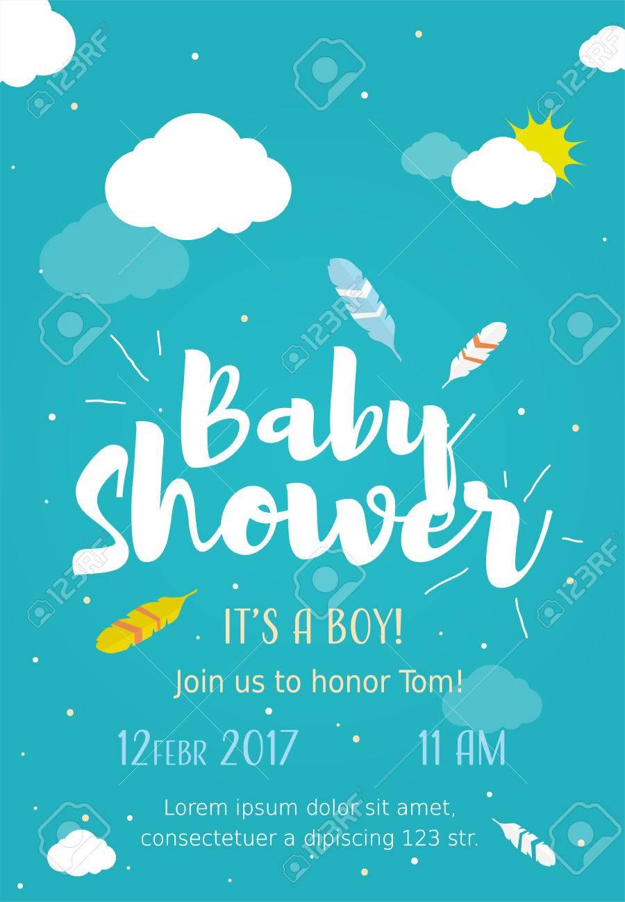 Diseño Lindo De Tarjetas De Invitación Para Fiesta De Baby Shower Con Ilustración De Plumas Nubes Y Sol