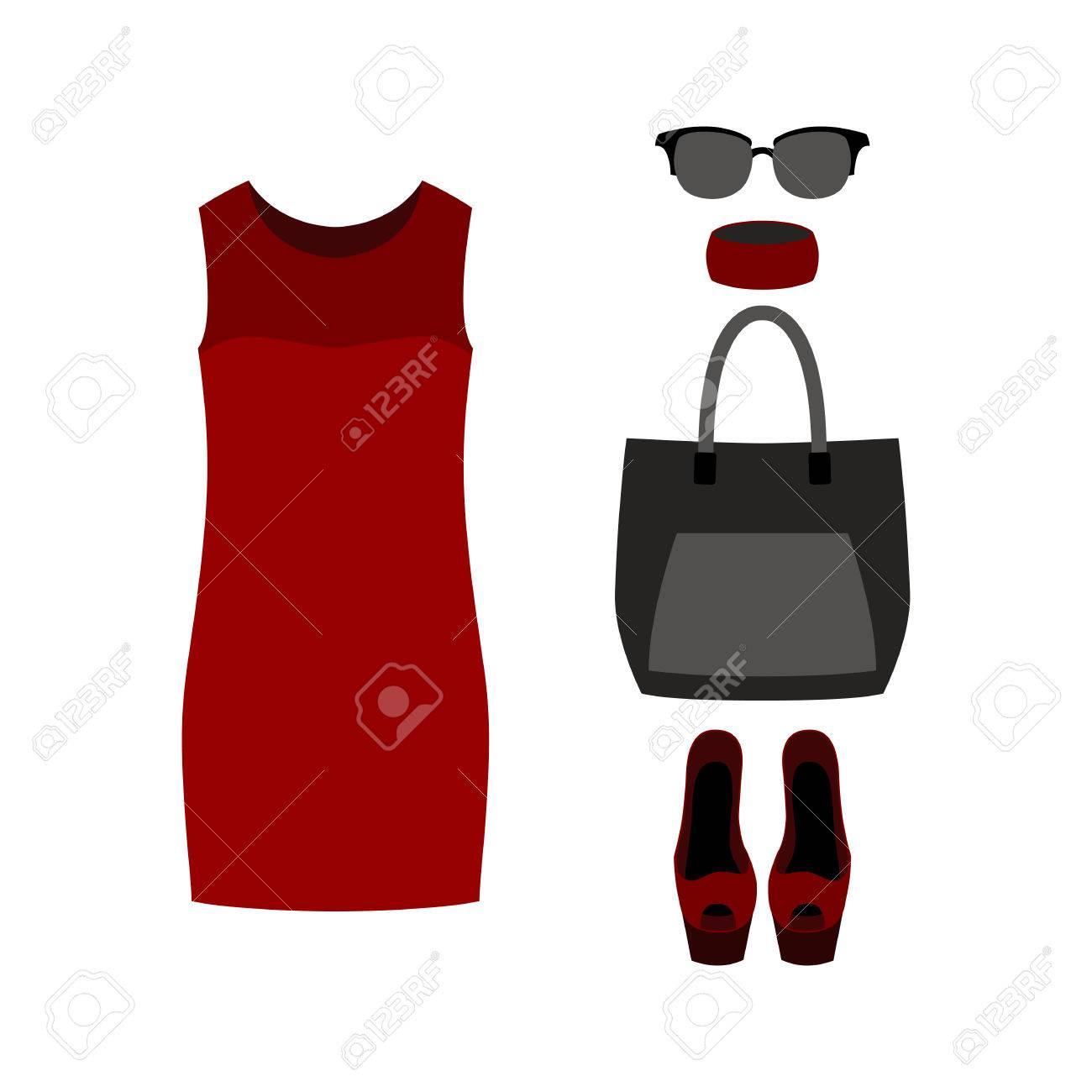 97138b8eda Banque d\u0027images , Ensemble de vêtements pour femmes à la mode avec une  robe rouge et accessoires. Vector illustration ...