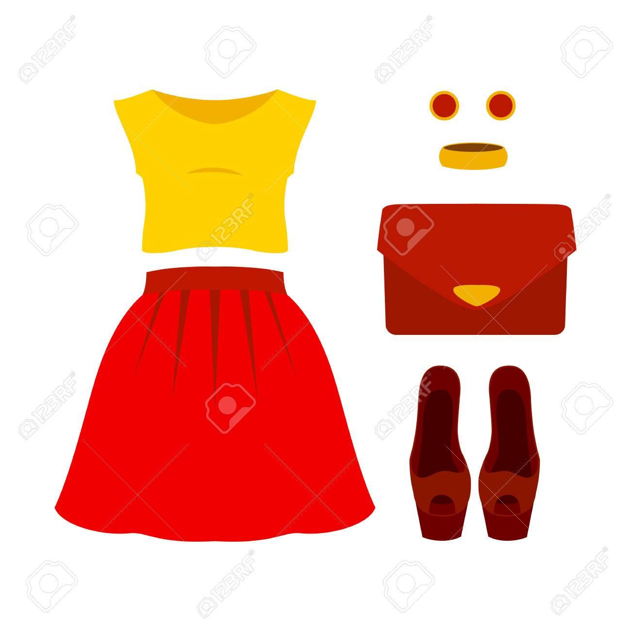 85a78a9bdeb9 Conjunto de ropa de mujer de moda con falda roja, color amarillo arriba y  accesorios