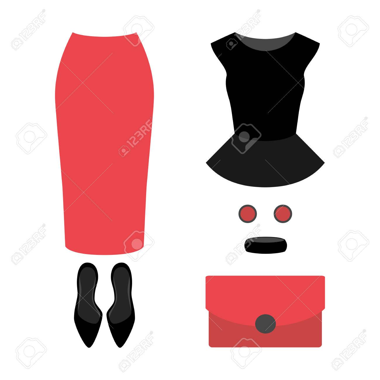 Set Of Trendy Womens Clothes With Coral Skirt Top And Accessories