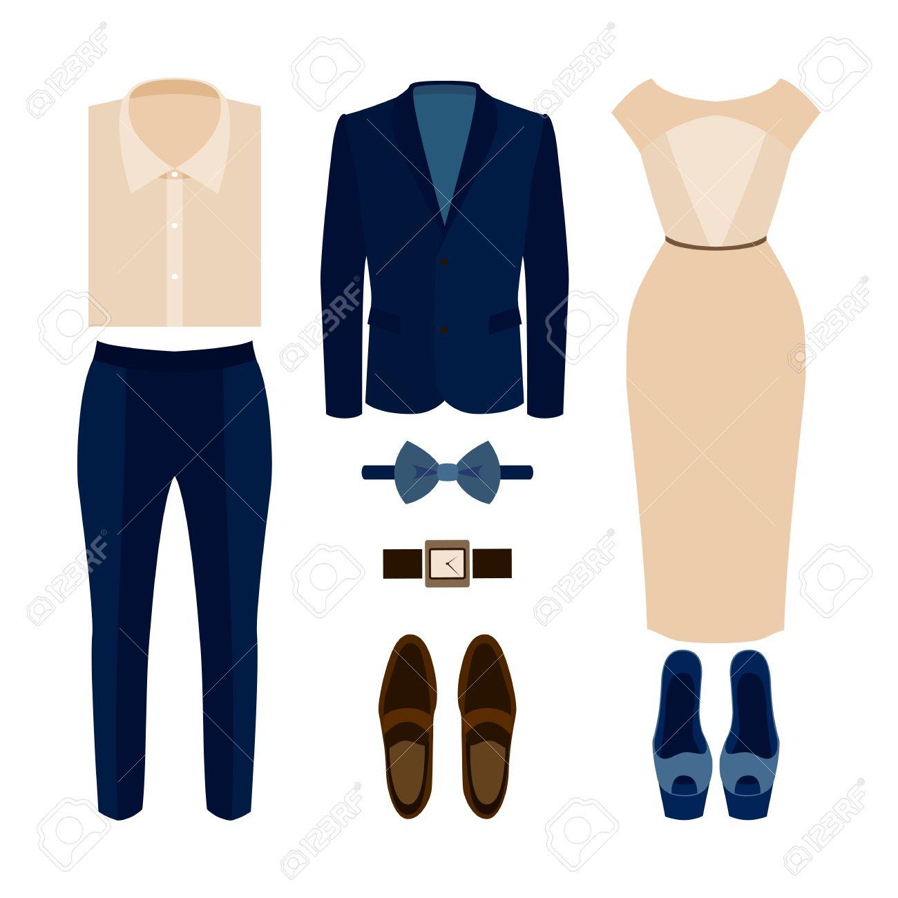 ece10d362 Conjunto de ropa de moda. Traje de hombre y mujer de ropa y accesorios.