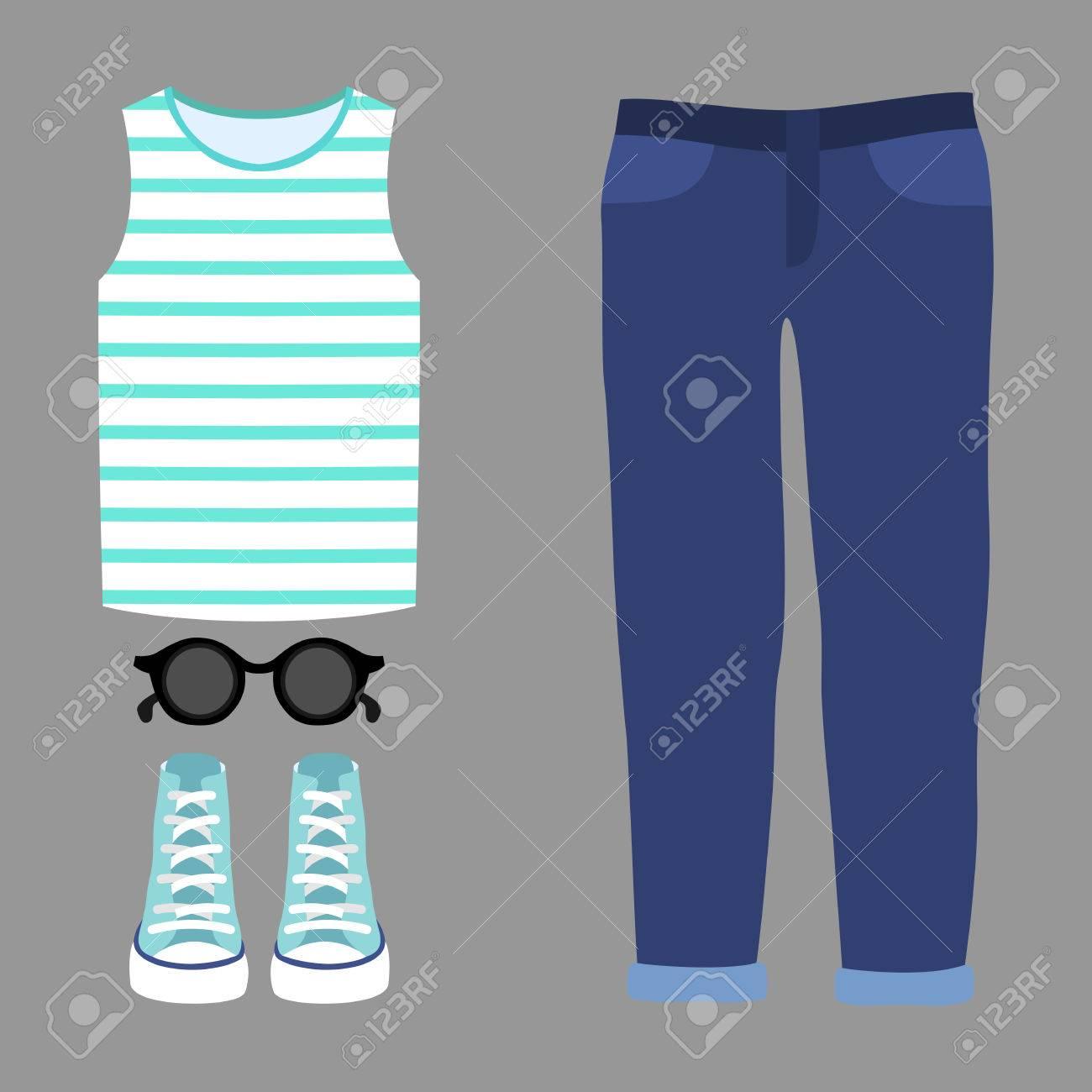a99d9f9e030b Banque d images - Ensemble de vêtements pour femmes à la mode. Outfit de jeans  femme
