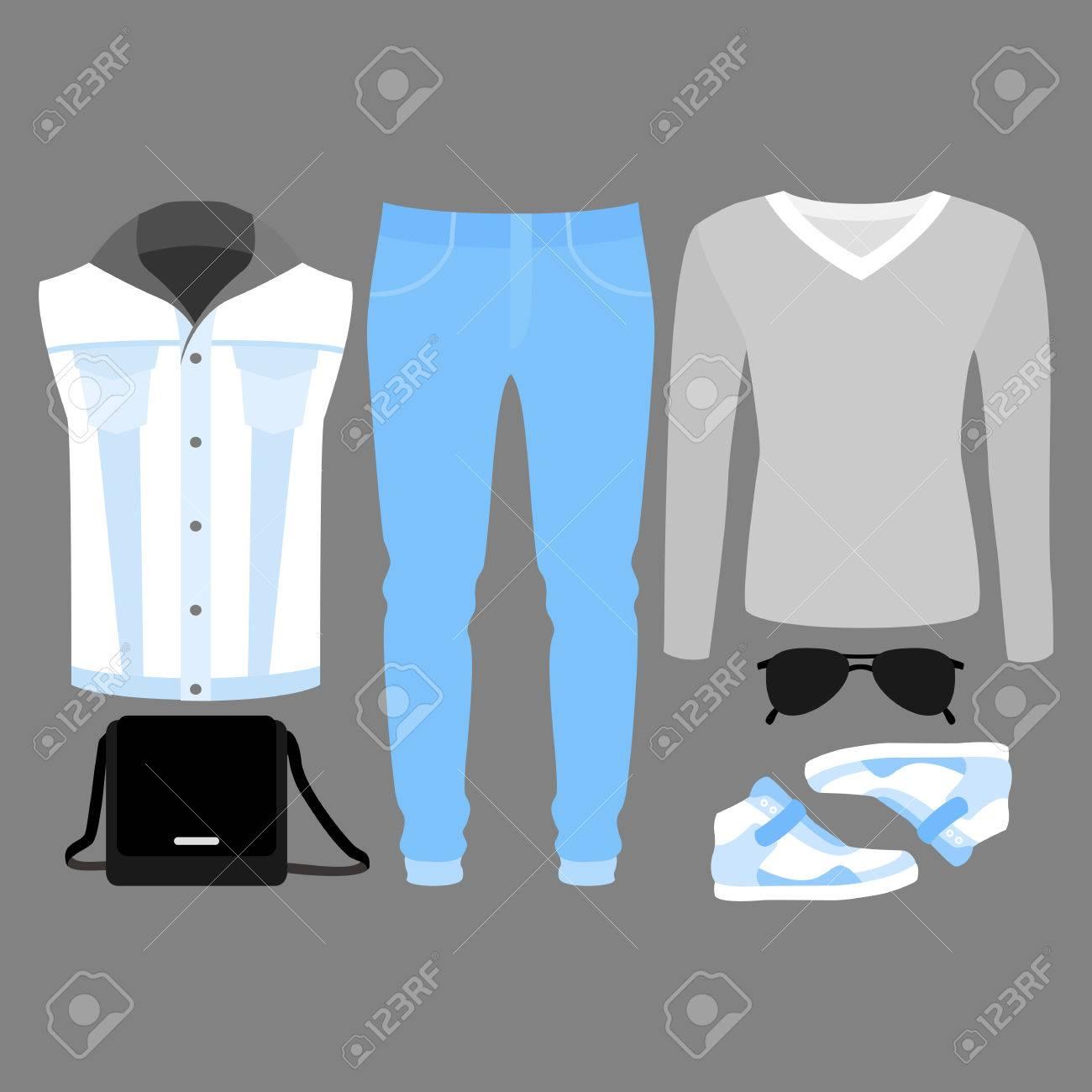c5b7eb1a7 Conjunto de ropa de hombre de moda. Traje del hombre del dril de algodón  del chaleco, pantalones vaqueros, jersey y accesorios. armario masculino.  ...