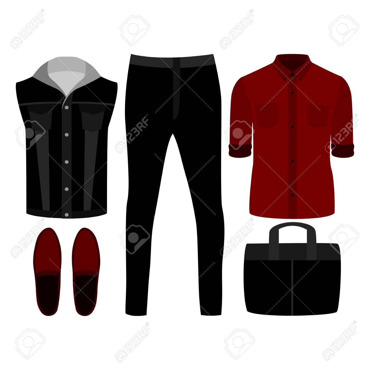 dd31982f1 Conjunto de ropa de hombre de moda. Traje del hombre del dril de algodón  del chaleco, pantalones vaqueros, camisa y accesorios. armario masculino.  ...