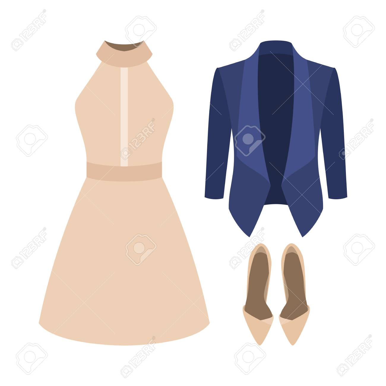 fa40a1b9c8de1 Set of trendy women's clothes. Outfit of woman jacket, dress and  accessories. Women's
