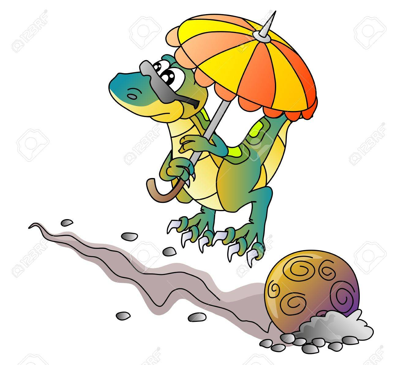 dinosaur and comet, vector illustration - 13204746